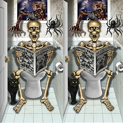 2 x Auf Klo sitztendes Skelett Türposter Poster Tür Posterfolie Halloween Folie