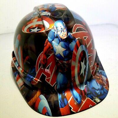 Hard Hat Custom Hydro Dipped Osha Approved Avengers Capt America New