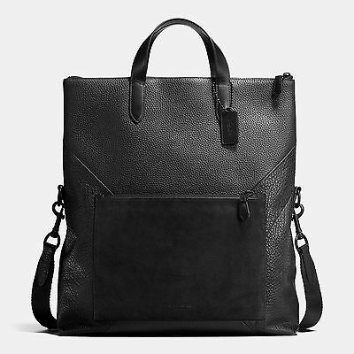 COACH MANHATTAN FOLDOVER TOTE IN PATCHWORK LEATHER  MESSENGER BLACK STYLE #72333