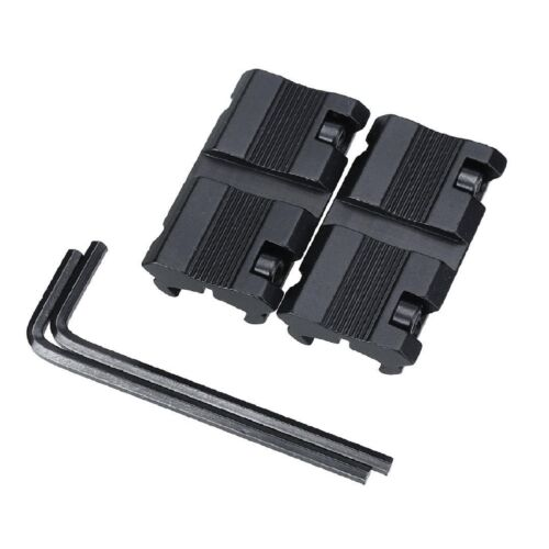 2PCs 11mm Dovetail to 20mm Weaver Picatinny Rail Adapter Rifle Scope Mount