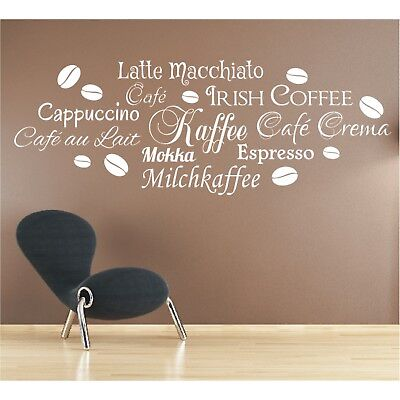 Wandtattoo Spruch Kaffee Latte Macchiato Mokka Wandsticker Aufkleber Sticker  ()