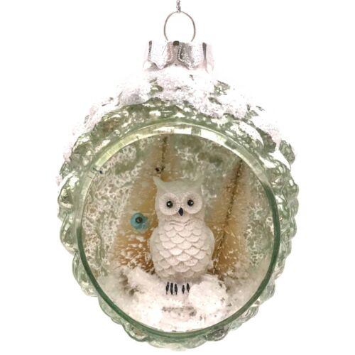 Vintage Style Fake Mercury Owl Window Glass Christmas Ornament Mint Green R3