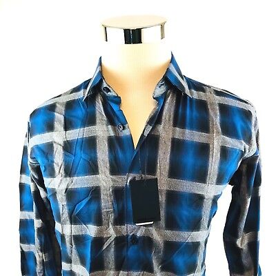 Jared Lang Navy Gray Plaid Button Front Woven Sport Shirt Mens M/L/XL NWT