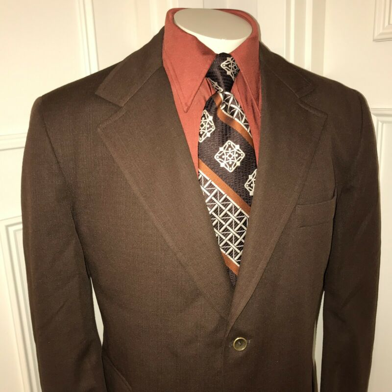 Vtg 60s 70s TOWNCRAFT Brown JCPENNEY Blazer POLYESTER Suit Jacket coat Mens 46