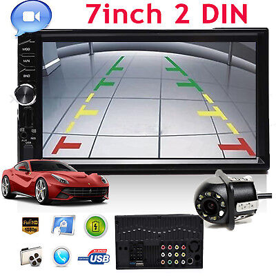 "2Din Car 7"" MP5 Audio Stereo Player Radio USB FM Bluetooth +Rear View Camera New"