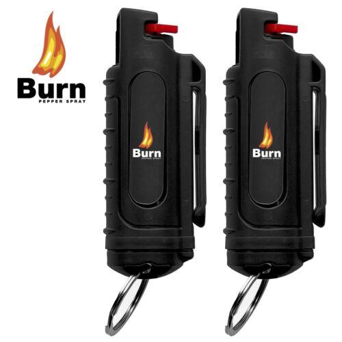 BURN Pepper Spray .50oz Self Defense Security Hardshell Keychain Molded - 2 PACK
