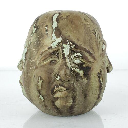 "Four Face Buddha Head Statue 4 Side Pleasure Anger Sorrow Joy Cast Figure 2-3/8"""