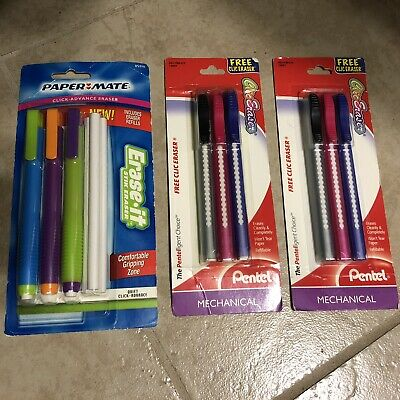 New 9 Pentel Paper Mate Mechanical Clic Click Pencil Eraser With Refills Lot
