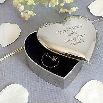 Personalised Silver Finish Heart Trinket -Engraved Free -Christmas, Graduation