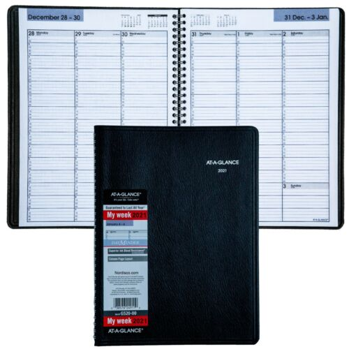 """2021 At-A-Glance DayMinder G520-00 Weekly Appointment Book, 8 x 11"""", Black Cover"""