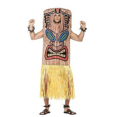 Mens Tiki Totem Chief Fancy Dress Costume Native Indian Hawaiian Beach Party