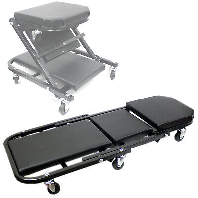 Foldable Z Creeper Seat Rolling Chair Auto Mechanics Shop Garage Work Stool BLK