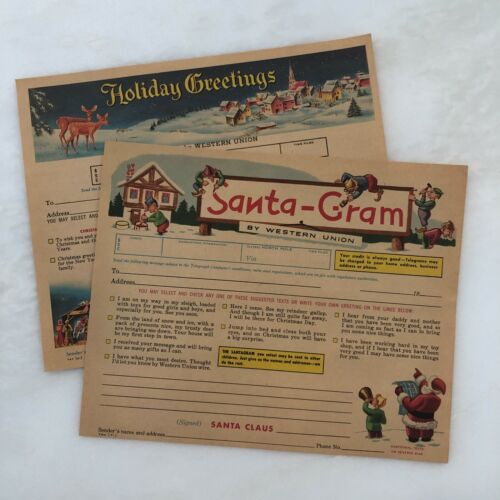 2 1961 CHRISTMAS Holiday SANTA GRAM WESTERN UNION Telegram Form Vintage Originl