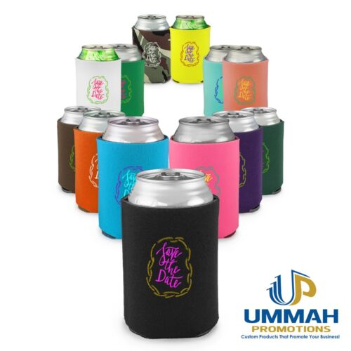 100 Personalized Premium 4mm Collapsible Can Coolers / Koozie w/ Logo or Message