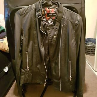 Black Rivet Motorcycle Style Faux Leather Jacket