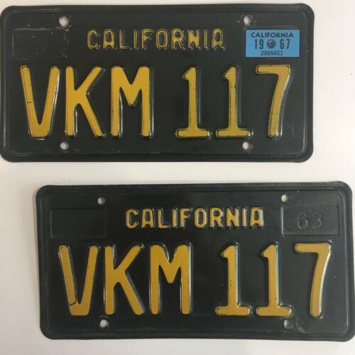 California 1963 BLACK LICENSE PLATES  DMV clear YOM