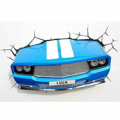 BLUE CLASSIC CAR 3D LED WALL LIGHT BEDROOM KIDS PERSONALIZED NEW