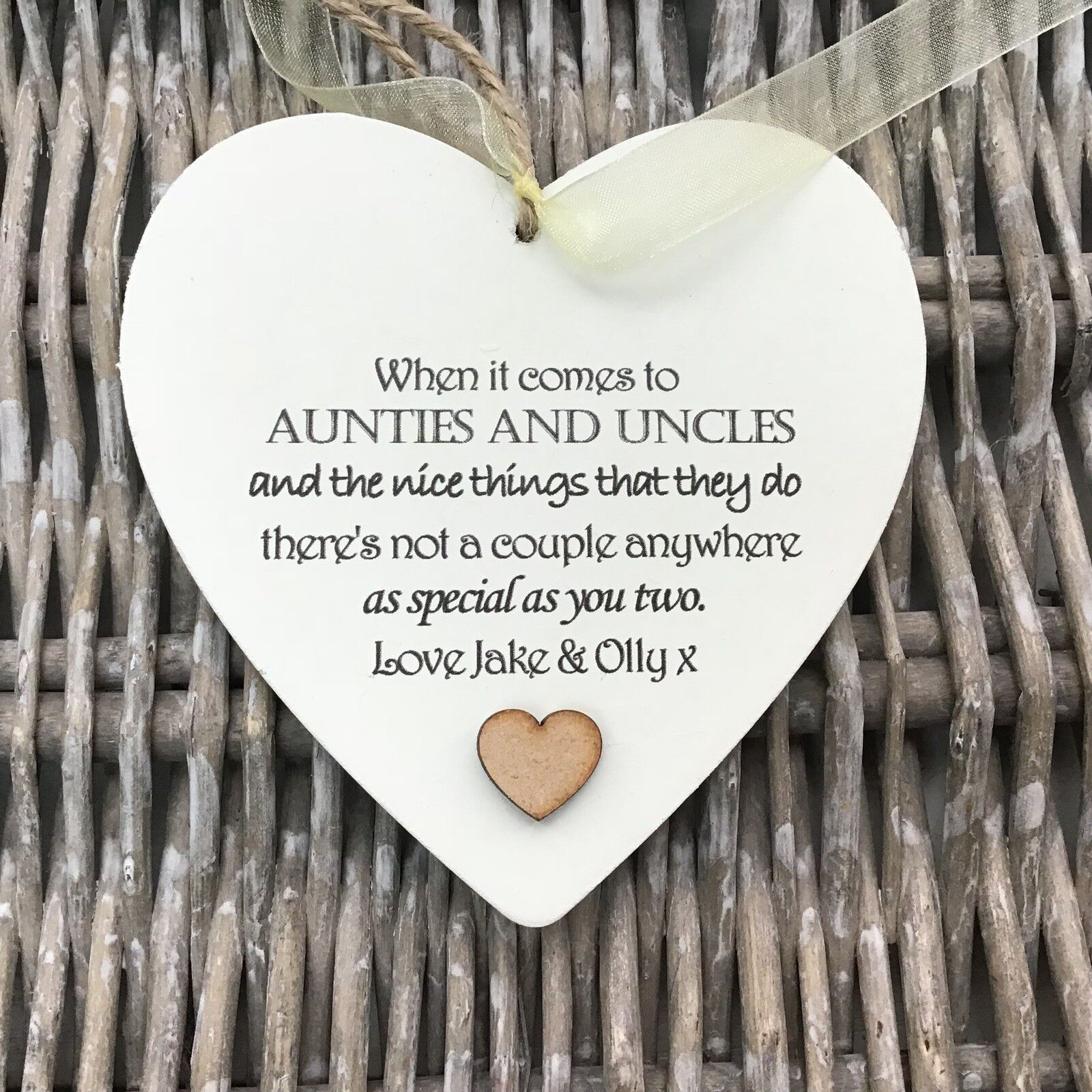 Shabby personalised Gift Chic Heart Plaque Special Auntie Uncle Aunty Aunt Gift - 253984749654