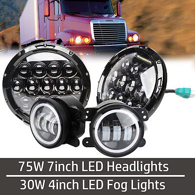7'' LED Headlights Projector Headlamp + Fog Light For FREIGHTLINER Century Class