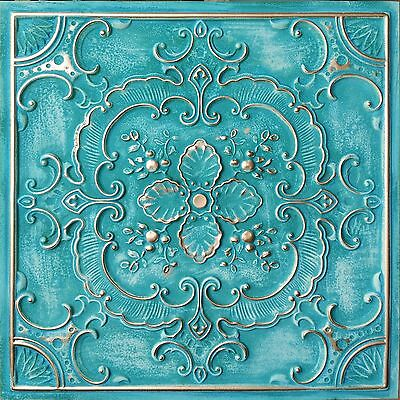 PL19 Faux tin washed gold style ceiling tiles decorative wall panels 10tile/lot
