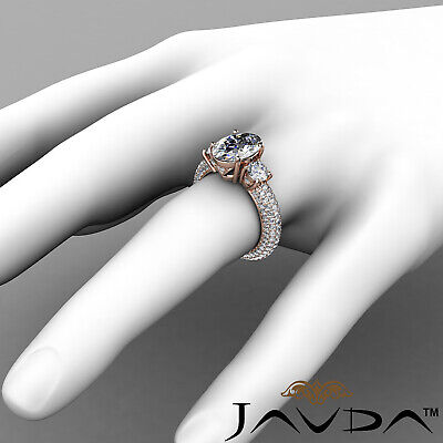 Women's 3 Stone Pave Set Oval Cut Diamond Engagement Ring GIA F Color VS2 3.8Ct 11