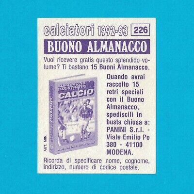 BUONO ALMANACCO - STICKER PANINI CALCIATORI 1992-93 - MASSARO - VERY RARE