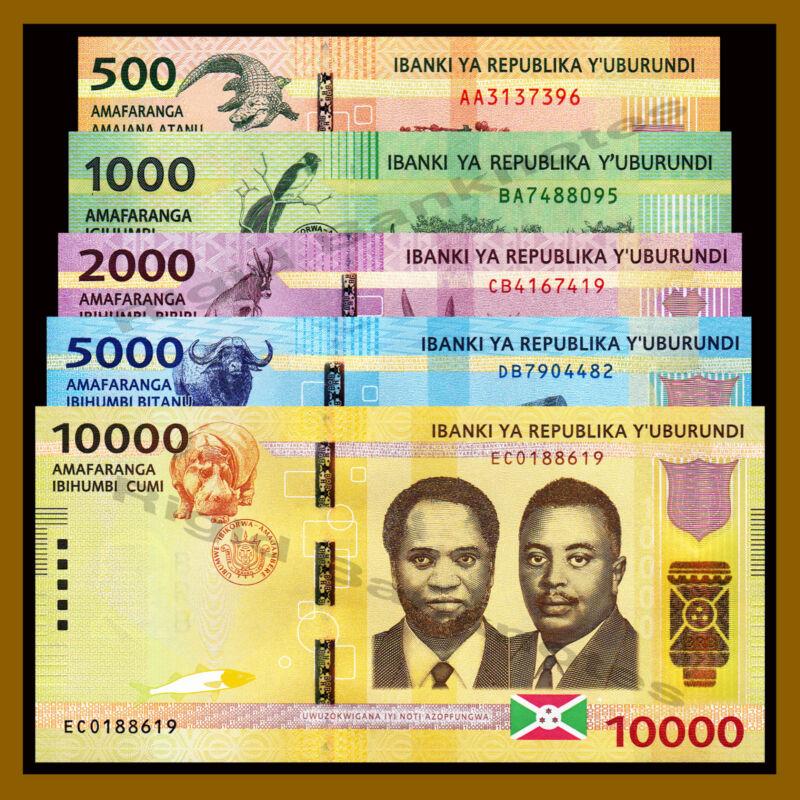 Burundi 500 1000 2000 5000 10000 Francs (5 Pcs Full Set), 2015 P-50-54 Unc
