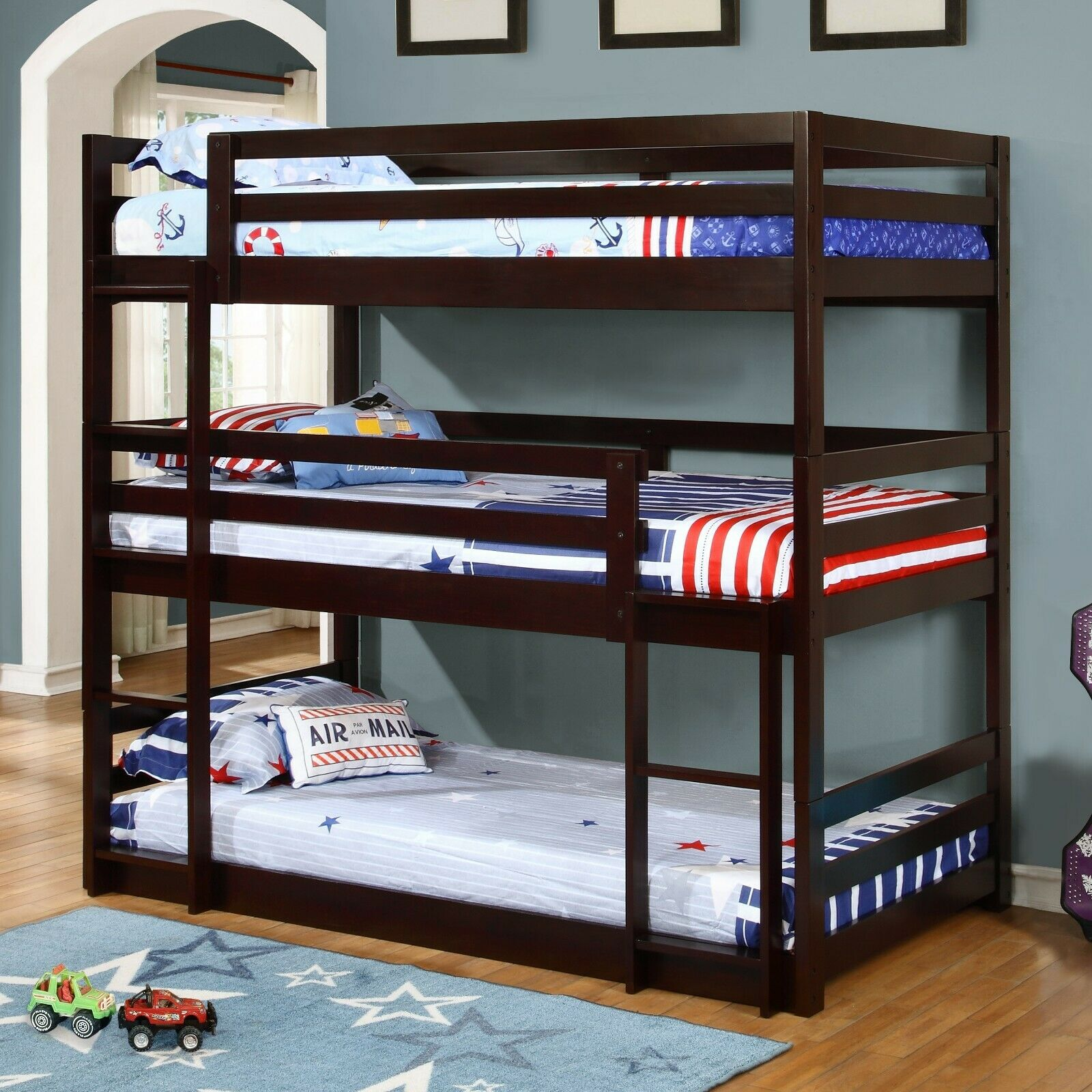 Modern Adult & Teen Triple Twin Wood Bunk Bed with Mattress