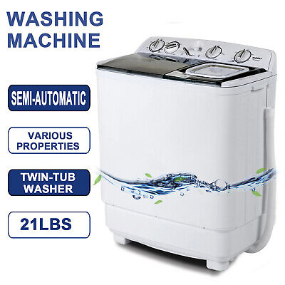 21LBS Mini Semi-Instinctive Compact Washing Machine Twin Tub Washer Spiner Laundry