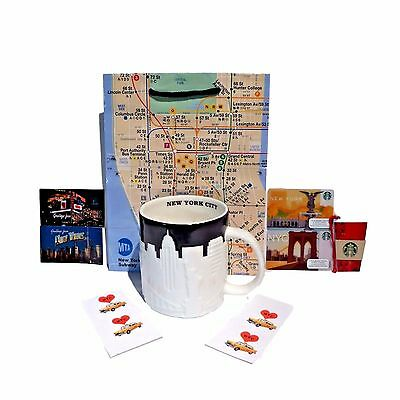 Starbucks New York Coffee Mug Cup NYC Skyline Taxi Deluxe Gift Set Subway Bag Deluxe Starbucks Coffee Gift