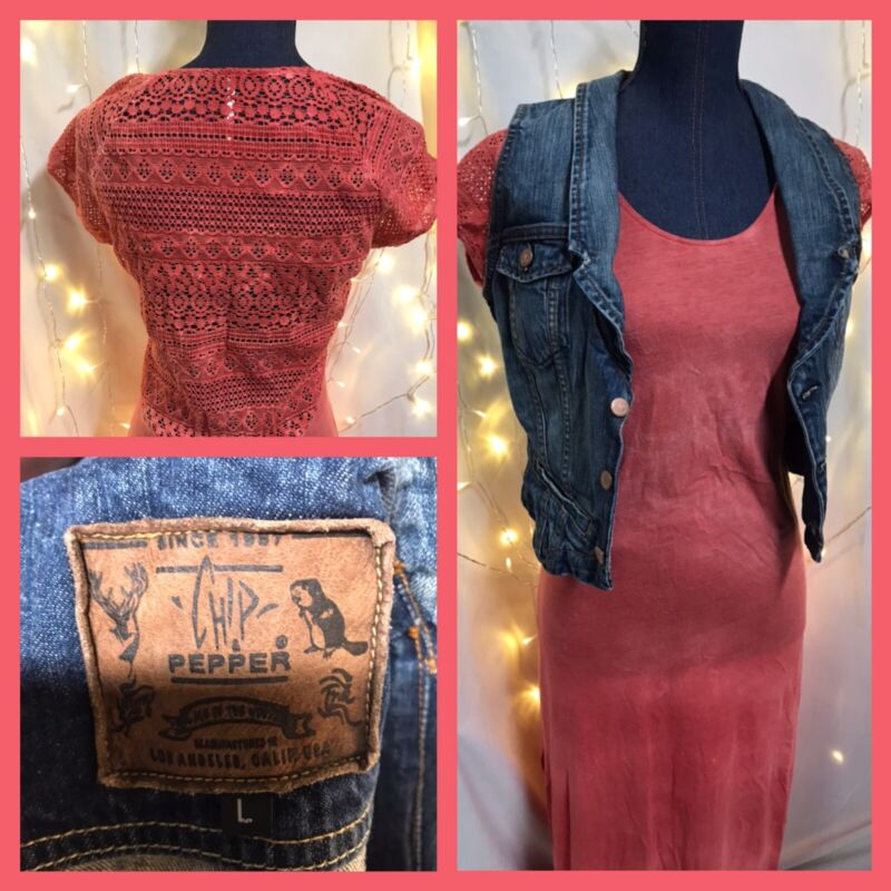 Womens Clothing Free People Dress Chips N Pepper Jean Vest Lot Med/Lg