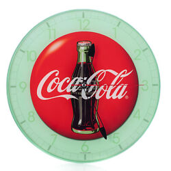 Coca Cola Bottle Round Vintage Red Button Logo 12 x 12 Glass Wall Clock