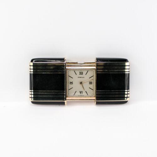 Tiffany & Co. Black & Gold Tone Vintage Movado Travel Watch Clock