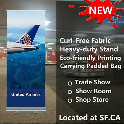 33.5x80standard Retractable Roll Up Banner Stand Graphics Printed With Fabric