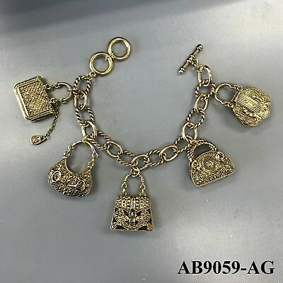 Gold Tone Chain Designer Inspired Hand Purse Bag Charms Toggle Bar Bracelet ()