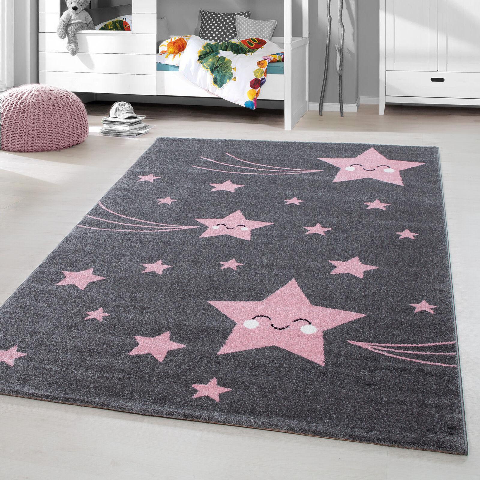 Kinderteppich Kurzflor Laecheln Stern Baby Kinderzimmer  Grau Pink  Meliert