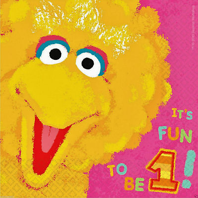 Sesame Street Party Supplies Big Bird 1st Birthday Lunch Napkins 36ct.