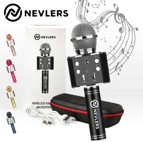 Nevlers Karaoke Microphone w/Wireless Bluetooth Speaker & Recording Option-Black