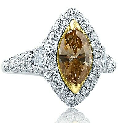 GIA 2.74Ct Marquise Fancy Brownish Yellow Diamond Engagement Ring 18k White Gold
