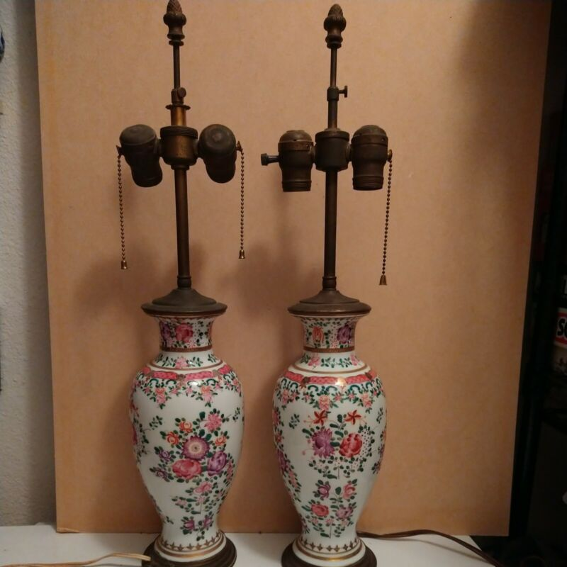 Pair Vtg Chinese Porcelain Table Lamps Jar Style Floral Vase Asian Oriental