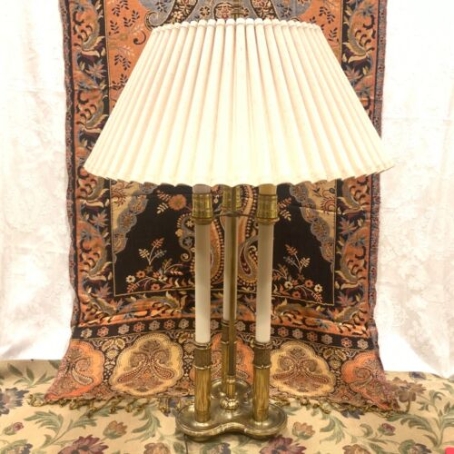 "30"" x 18"" Ornate Stiffel French Brass Bouillotte 3 Candlestick with  Lamp Shade"
