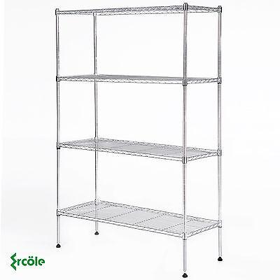 Adjustable 4 Tier Wire Shelving Rack 55x36x14 Heavy Duty Steel Shelf Chrome