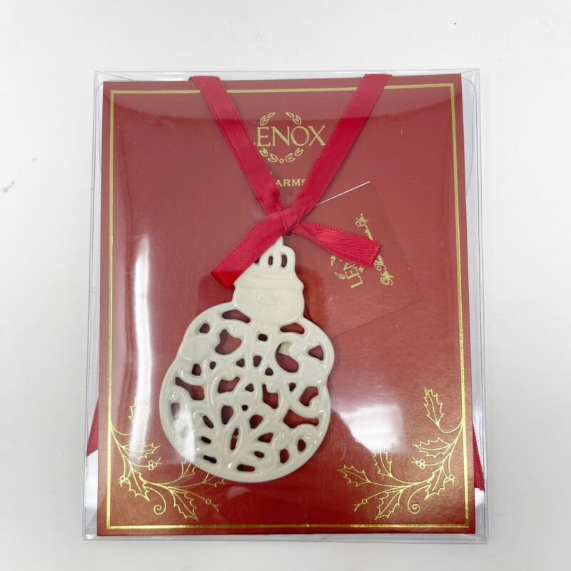 Lenox Charms Pierced Snowman Christmas Ornament White Cream Ribbon