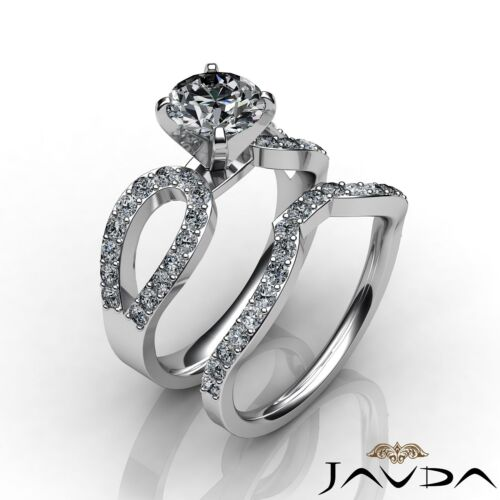 GIA Certified Round Cut Diamond Engagement F SI1 Platinum Bridal Set Ring 1.9ct