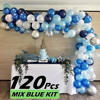 RC&Z Balloon Garland Arch Kit 120pcs Baby, Royal, Navy Blue, White and (Baby Blue And Silver)