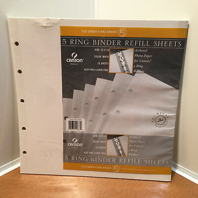 New Sealed Canson 5 Ring Binder Refill Sheets 15 Pack, Item # 541-2250