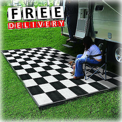 Camping Reversible Mat 9x12' Area Rug Trailer Outdoor Patio RV Accessories
