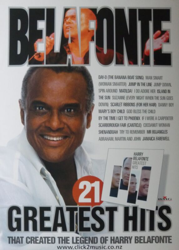 """HARRY BELAFONTE """"21 GREATEST HITS"""" NEW ZEALAND PROMO POSTER-Day-O! Calypso Music"""