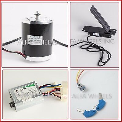 800w 36v Electric Go Kart Motor Kit W Control Box Key Lock Foot Pedal Throttle