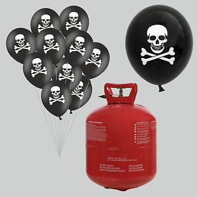 Helium Ballongas Set mit 50 Totenkopf Luftballons und Bänder für Halloween